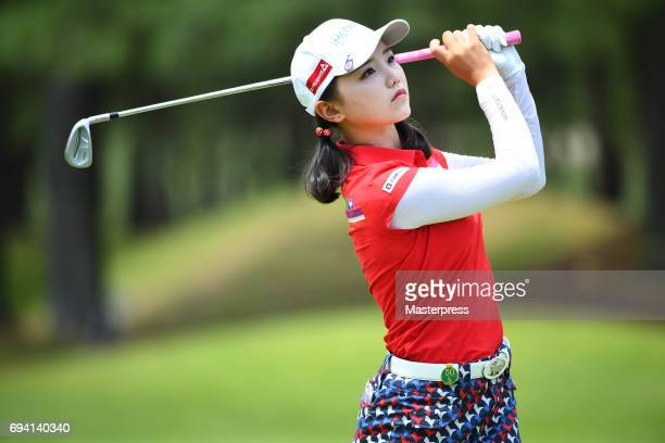 Yuting Seki of China looks on during the second round of the Suntory Ladies Open at the Rokko Kokusai Golf Club on June 9 2017 in Kobe Japan