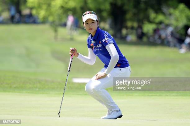 Yuting Seki of China looks over a green on the 18th hole of second round during the Chukyo Television Bridgestone Ladies Open at the Chukyo Golf Club...