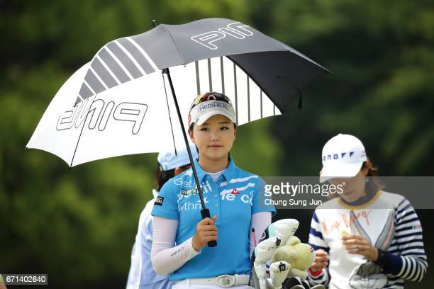 Yuting Seki of China on the 5th hole during the second round of Fujisankei Ladies Classic at the Kawana Hotel Golf Course Fuji Course on April 22...
