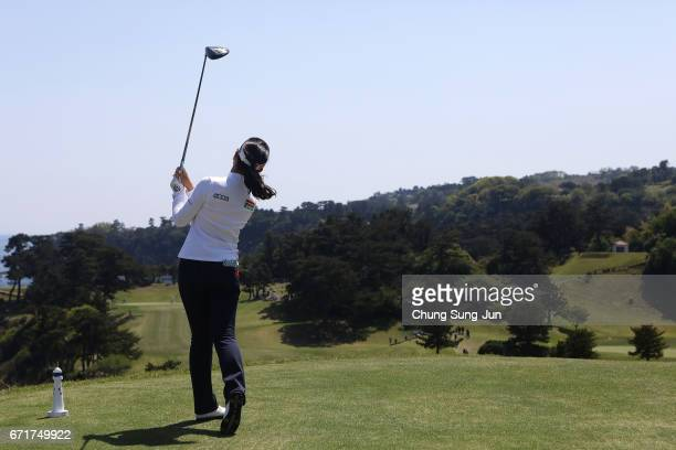 Yuting Seki of China plays a tee shot on the 16th hole during the final round of Fujisankei Ladies Classic at the Kawana Hotel Golf Course Fuji...