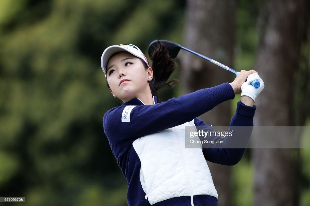 Yuting Seki of China plays a tee shot on the 3rd hole during the first round of Fujisankei Ladies Classic at the Kawana Hotel Golf Course Fuji Course on April 21, 2017 in Ito, Japan.