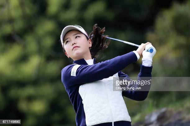Yuting Seki of China plays a tee shot on the 3rd hole during the final round of Fujisankei Ladies Classic at the Kawana Hotel Golf Course Fuji Course...