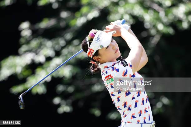 Yuting Seki of China plays a tee shot on the 5th hole during the final round of the Chukyo Television Bridgestone Ladies Open at the Chukyo Golf Club...