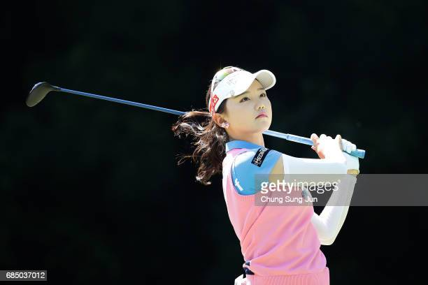 Yuting Seki of China plays a tee shot on the fifth hole of first round during the Chukyo Television Bridgestone Ladies Open at the Chukyo Golf Club...