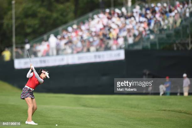 Yuting Seki of China plays her approach shot on the 18th hole during the final round of the 50th LPGA Championship Konica Minolta Cup 2017 at the...