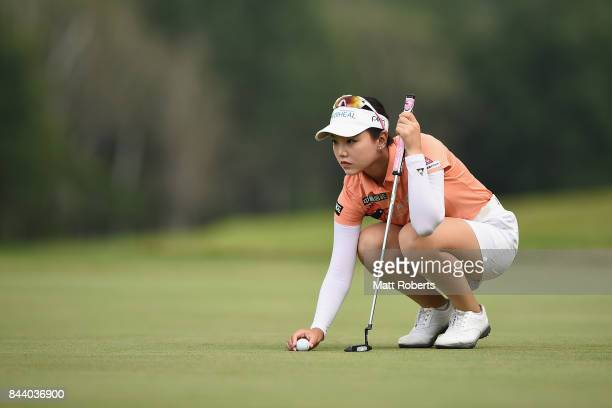 Yuting Seki of China prepares to putt on the 18th green during the second round of the 50th LPGA Championship Konica Minolta Cup 2017 at the Appi...