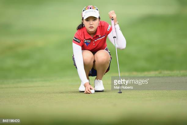 Yuting Seki of China prepares to putt on the 1st green during the final round of the 50th LPGA Championship Konica Minolta Cup 2017 at the Appi Kogen...