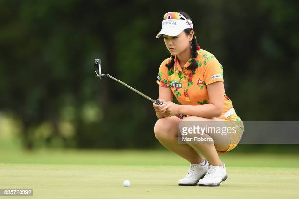 Yuting Seki of China prepares to putt on the 3rd green during the final round of the CAT Ladies Golf Tournament HAKONE JAPAN 2017 at the Daihakone...