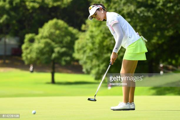 Yuting Seki of China putts during the first round of the Samantha Thavasa Girls Collection Ladies Tournament at the Eagle Point Golf Club on July 14...