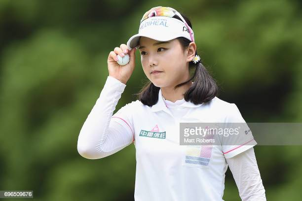 Yuting Seki of China reacts after her putt on the 1st green during the first round of the Nichirei Ladies at the Sodegaura Country Club Shinsode...