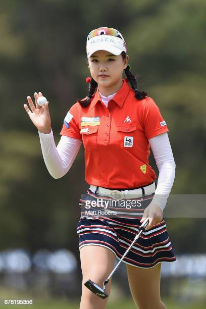 Yuting Seki of China reatcs on the 1st hole during the first round of the World Ladies Championship Salonpas Cup at the Ibaraki Golf Club on May 4...