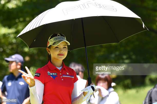 Yuting Seki of China smiles during the second round of the Samantha Thavasa Girls Collection Ladies Tournament at the Eagle Point Golf Club on July...