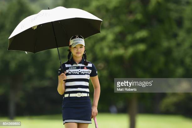 Yuting Seki of China waits to putt on the 3rd green during the first round of the CAT Ladies Golf Tournament HAKONE JAPAN 2017 at the Daihakone...