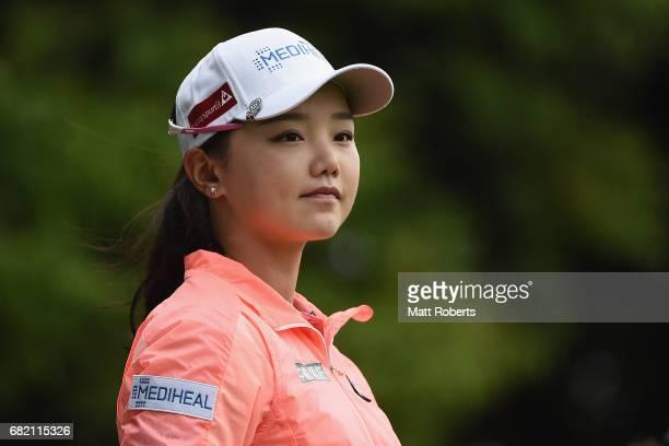 Yuting Seki of China watches her tee shot on the 10th hole during the first round of the HokennoMadoguchi Ladies at the Fukuoka Country Club Wajiro...