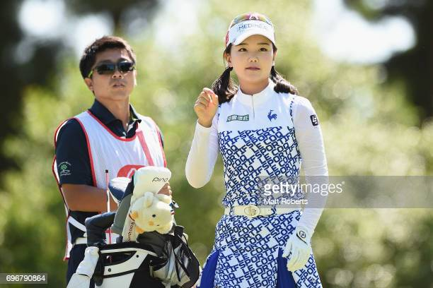 Yuting Seki of China watches her tee shot on the 11th hole during the second round of the Nichirei Ladies at the on June 17 2017 in Chiba Japan