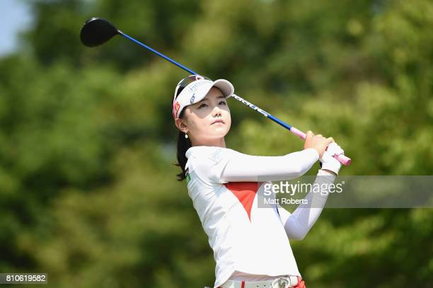 Yuting Seki of China watches her tee shot on the 13th hole during the second round of the Nipponham Ladies Classics at the Ambix Hakodate Club on...