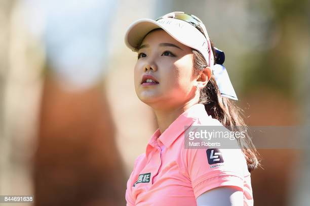 Yuting Seki of China watches her tee shot on the 15th hole during the third round of the 50th LPGA Championship Konica Minolta Cup 2017 at the Appi...