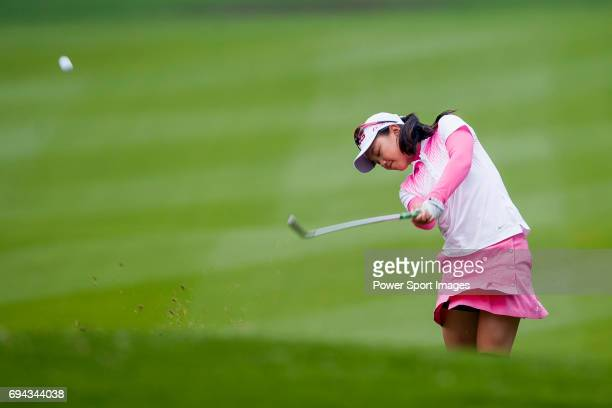 Yuting Shi of China hits her shot during the Hyundai China Ladies Open 2014 Proam on December 10 2014 at Mission Hills Shenzhen in Shenzhen China
