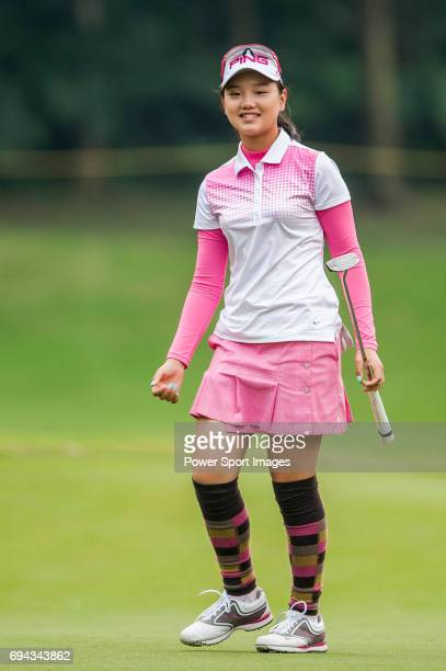 Yuting Shi of China reacts during the Hyundai China Ladies Open 2014 Proam on December 10 2014 at Mission Hills Shenzhen in Shenzhen China