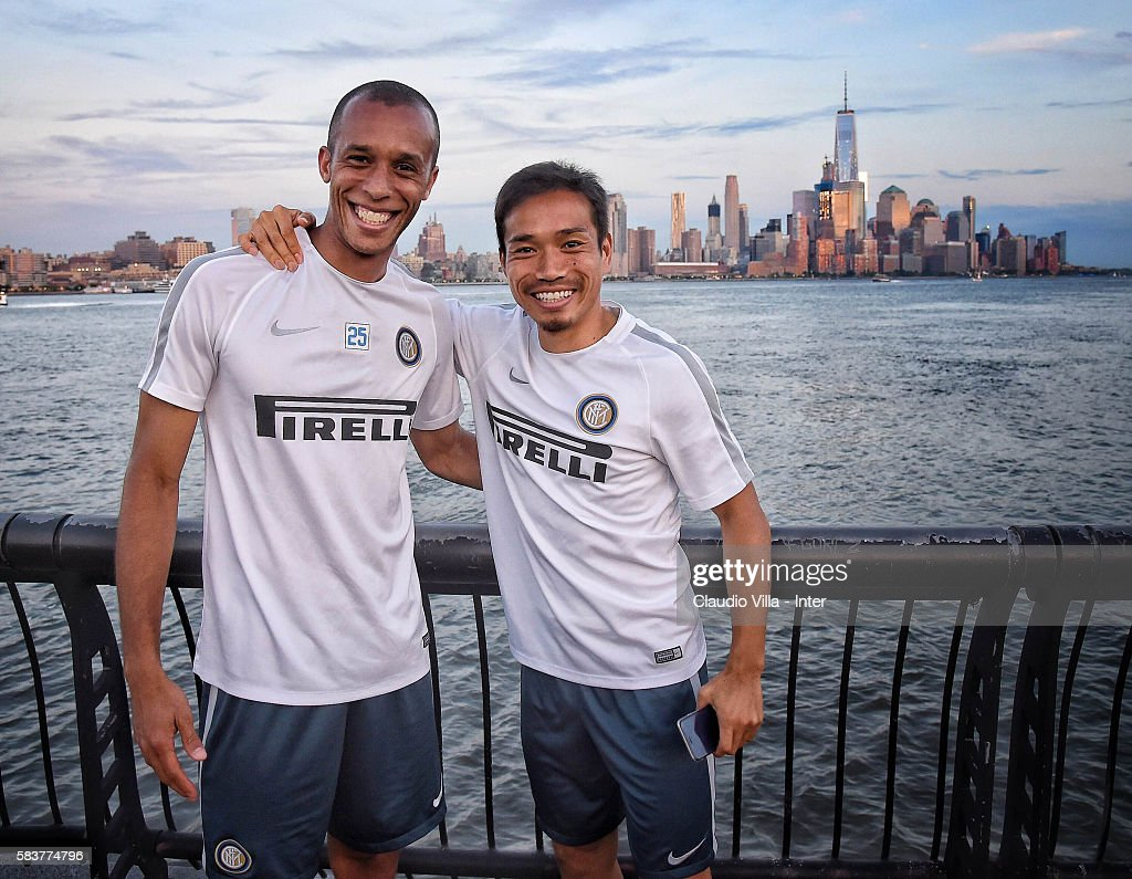 Yuto Nagatomo (R) and Miranda of FC Internazionale poses for a photo on July 27, 2016 in Hoboken, New Jersey.