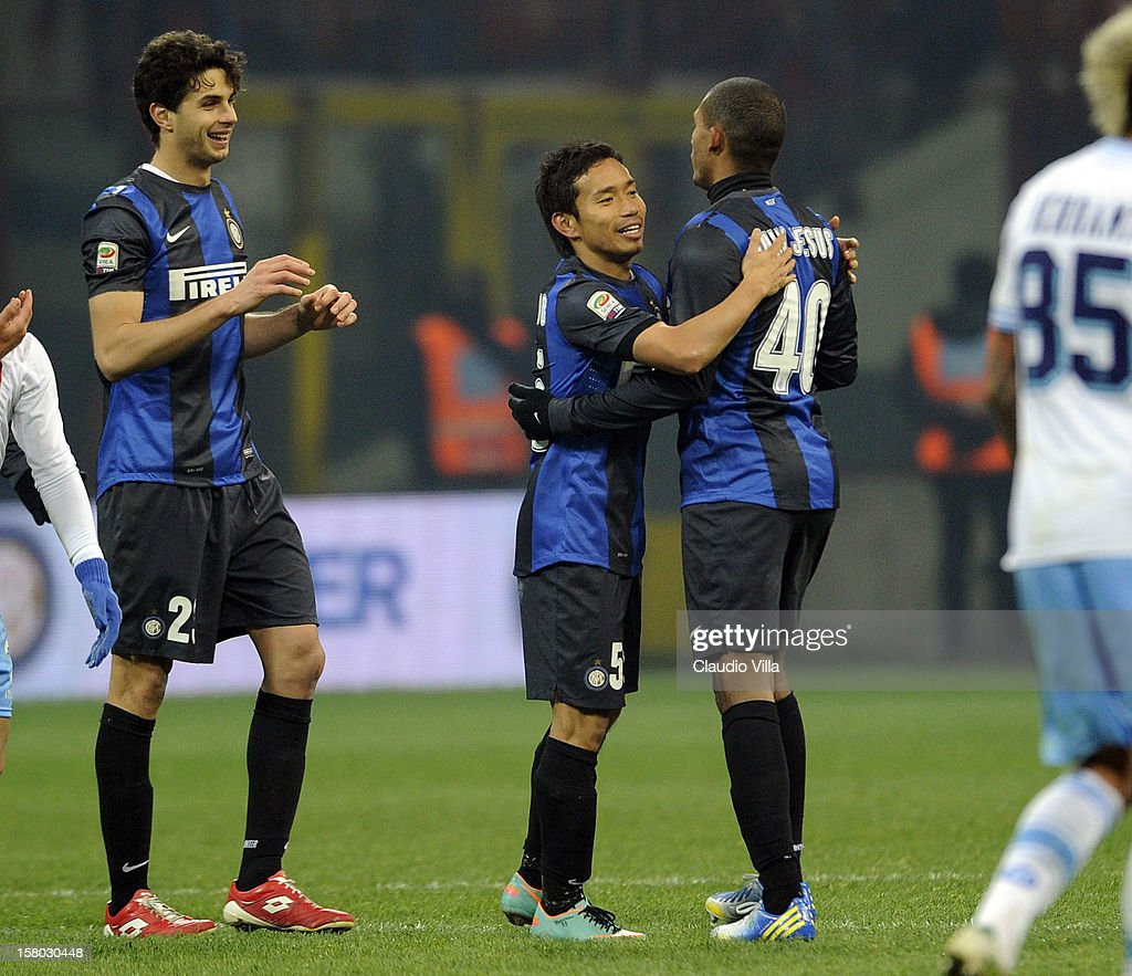 <a gi-track='captionPersonalityLinkClicked' href=/galleries/search?phrase=Yuto+Nagatomo&family=editorial&specificpeople=4320811 ng-click='$event.stopPropagation()'>Yuto Nagatomo</a> of FC Inter Milan (C) celebrates victory at the end of the Serie A match between FC Internazionale Milano and SSC Napoli at San Siro Stadium on December 9, 2012 in Milan, Italy.