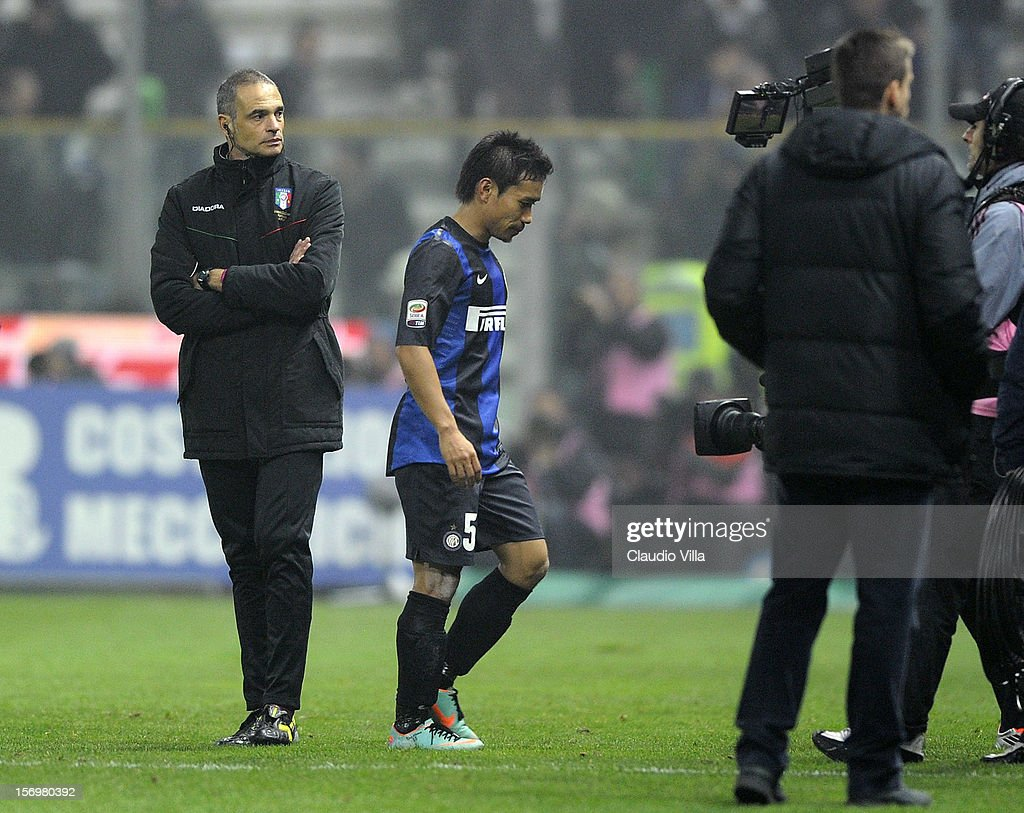 Yuto Nagatomo of FC Inter Milan dejected after the Serie A match between Parma FC and FC Internazionale Milano at Stadio Ennio Tardini on November 26, 2012 in Parma, Italy.
