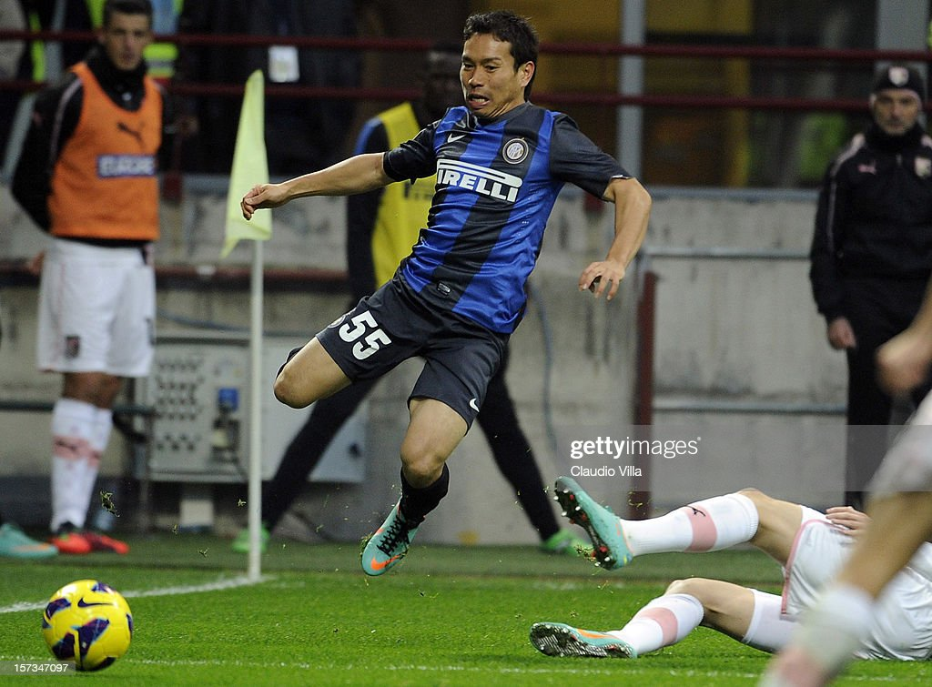 <a gi-track='captionPersonalityLinkClicked' href=/galleries/search?phrase=Yuto+Nagatomo&family=editorial&specificpeople=4320811 ng-click='$event.stopPropagation()'>Yuto Nagatomo</a> of FC Inter Milan #55 during the Serie A match between FC Internazionale Milano and US Citta di Palermo at San Siro Stadium on December 2, 2012 in Milan, Italy.