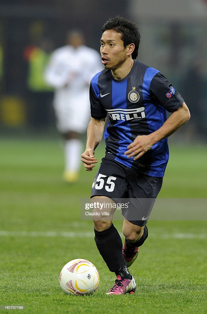 <a gi-track='captionPersonalityLinkClicked' href=/galleries/search?phrase=Yuto+Nagatomo&family=editorial&specificpeople=4320811 ng-click='$event.stopPropagation()'>Yuto Nagatomo</a> of FC Inter Milan in action during the UEFA Europa League round of 32 match between FC Internazionale Milano and CFR 1907 Cluj at San Siro Stadium on February 14, 2013 in Milan, Italy.