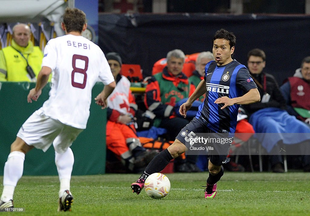 Yuto Nagatomo of FC Inter Milan in action during the UEFA Europa League round of 32 match between FC Internazionale Milano and CFR 1907 Cluj at San Siro Stadium on February 14, 2013 in Milan, Italy.