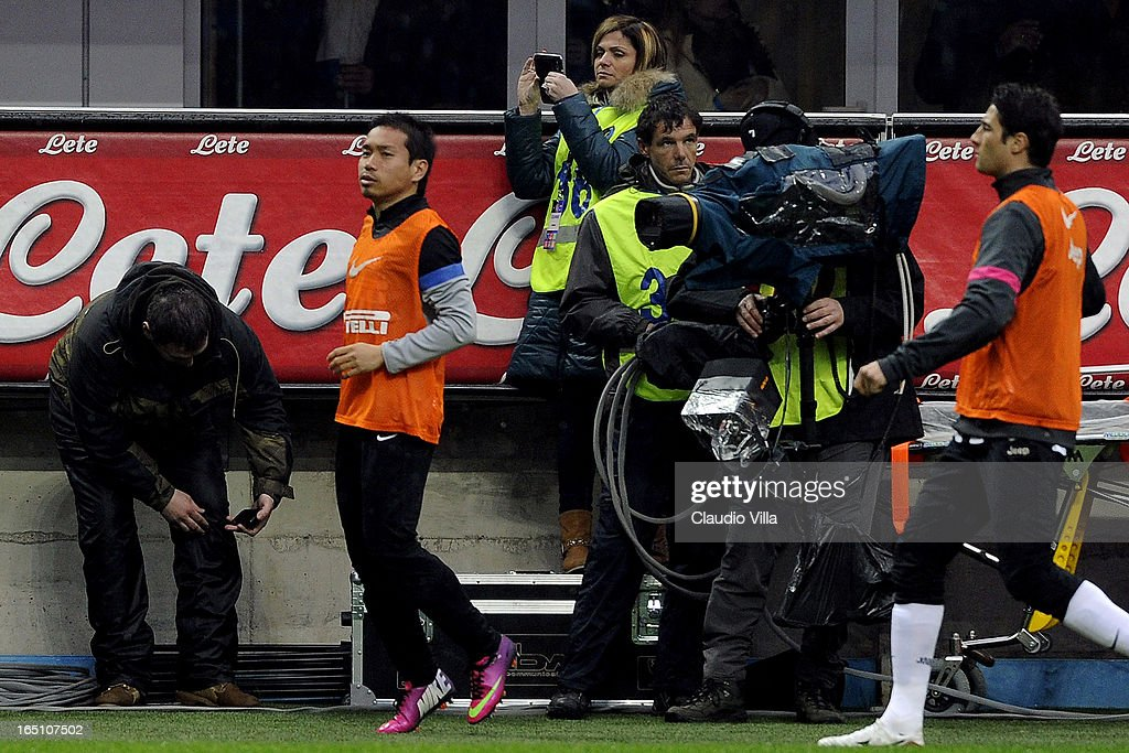 Yuto Nagatomo of FC Inter Milan warms up during the Serie A match between FC Internazionale Milano and Juventus FC at San Siro Stadium on March 30, 2013 in Milan, Italy.