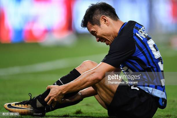 Yuto Nagatomo of FC Interernazionale injury during the International Champions Cup match between FC Bayern Munich and FC Internazionale at National...