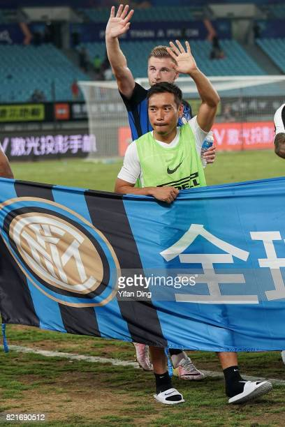 Yuto Nagatomo of FC Internationale greets fans after the 2017 International Champions Cup football match between FC Internationale v Olympique...