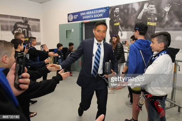 Yuto Nagatomo of FC Internazionale arrives prior to the Serie A match between FC Internazionale and AC Milan at Stadio Giuseppe Meazza on April 15...