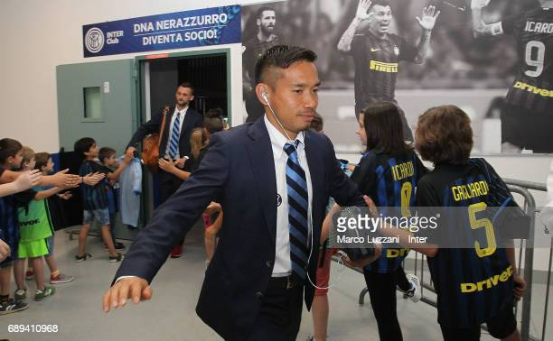 Yuto Nagatomo of FC Internazionale arrives prior to the Serie A match between FC Internazionale and Udinese Calcio at Stadio Giuseppe Meazza on May...