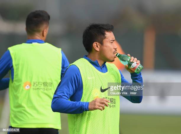 Yuto Nagatomo of FC Internazionale drinks during the training session at Suning Training Center at Appiano Gentile on October 19 2017 in Como Italy