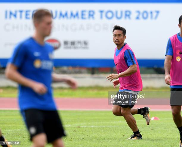 Yuto Nagatomo of FC Internazionale in action during a training session at Bishan Sports Hall on July 26 2017 in Singapore