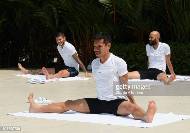 Yuto Nagatomo of FC Internazionale in action during a training session at Mandarin Oriental Hotel on July 28 2017 in Singapore