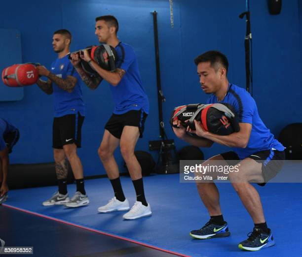 Yuto Nagatomo of FC Internazionale in action during a training session at Suning Training Center at Appiano Gentile on August 22 2017 in Como Italy