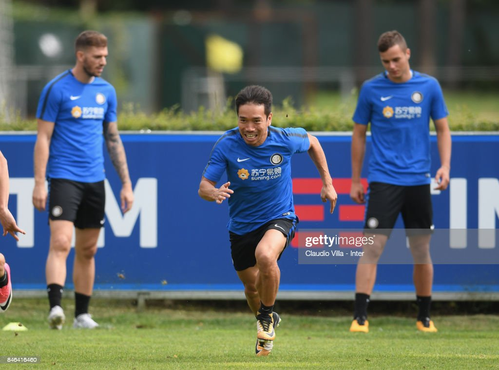 Yuto Nagatomo of FC Internazionale in action during a training session at Suning Training Center at Appiano Gentile on September 13, 2017 in Como, Italy.