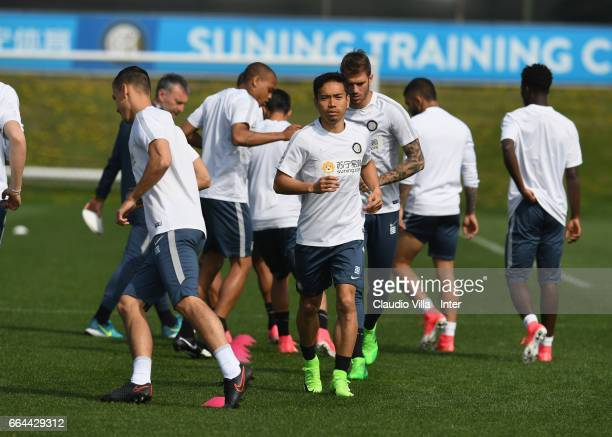 Yuto Nagatomo of FC Internazionale in action during FC Internazionale training session at Suning Training Center at Appiano Gentile on April 4 2017...