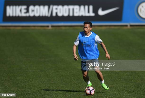 Yuto Nagatomo of FC Internazionale in action during FC Internazionale training session at Suning Training Center at Appiano Gentile on April 6 2017...