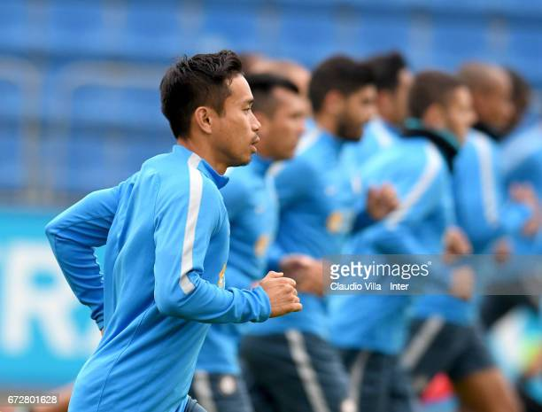 Yuto Nagatomo of FC Internazionale in action during FC Internazionale training session at Suning Training Center at Appiano Gentile on April 25 2017...