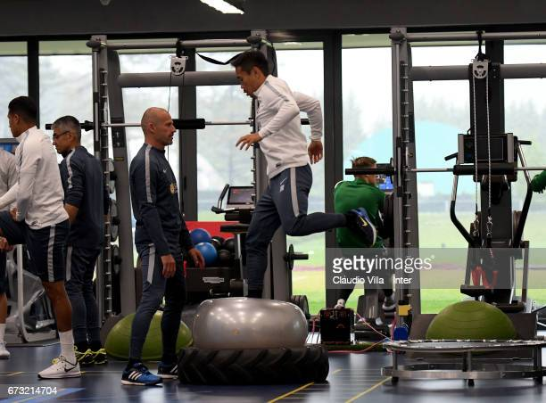 Yuto Nagatomo of FC Internazionale in action during FC Internazionale training session at Suning Training Center at Appiano Gentile on April 26 2017...