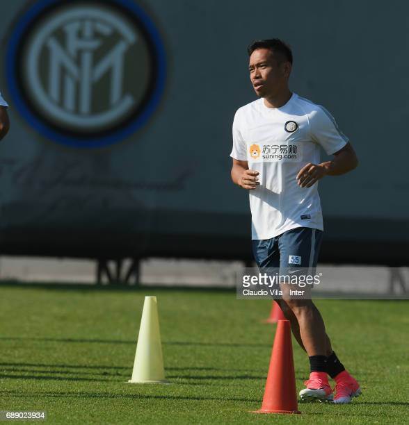 Yuto Nagatomo of FC Internazionale in action during FC Internazionale training session at Suning Training Center at Appiano Gentile on May 27 2017 in...