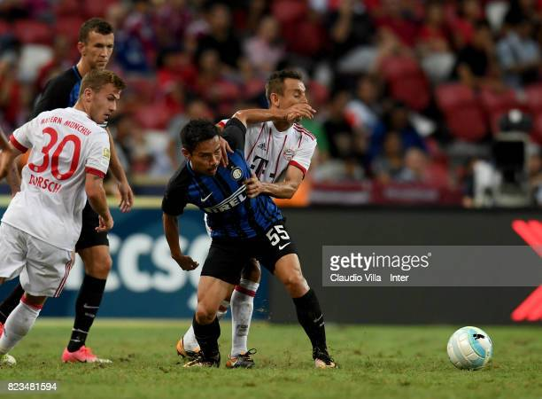 Yuto Nagatomo of FC Internazionale in action during the International Champions Cup match between FC Bayern and FC Internazionale at National Stadium...