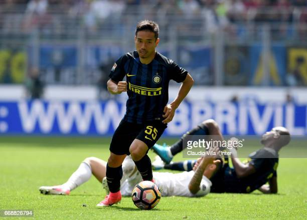 Yuto Nagatomo of FC Internazionale in action during the Serie A match between FC Internazionale and AC Milan at Stadio Giuseppe Meazza on April 15...