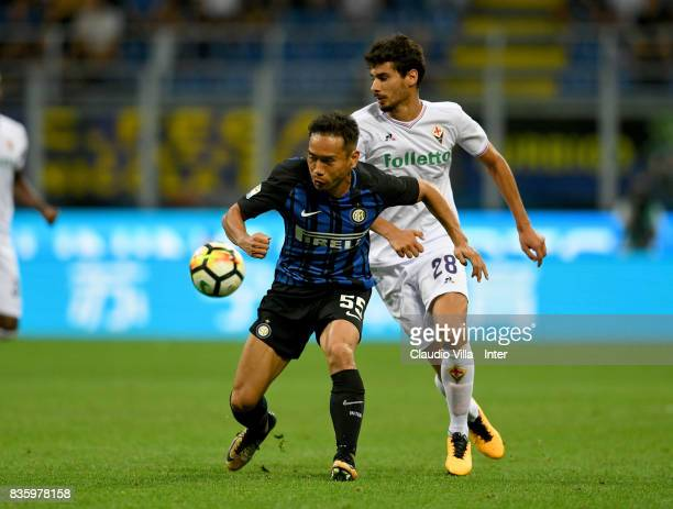 Yuto Nagatomo of FC Internazionale in action during the Serie A match between FC Internazionale and ACF Fiorentina at Stadio Giuseppe Meazza on...