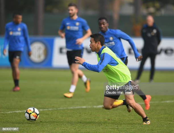 Yuto Nagatomo of FC Internazionale in action during the training session at Suning Training Center at Appiano Gentile on October 19 2017 in Como Italy