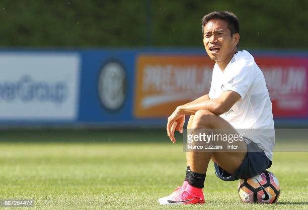 Yuto Nagatomo of FC Internazionale looks on during the FC Internazionale training session at the club's training ground 'La Pinetina' on April 11...