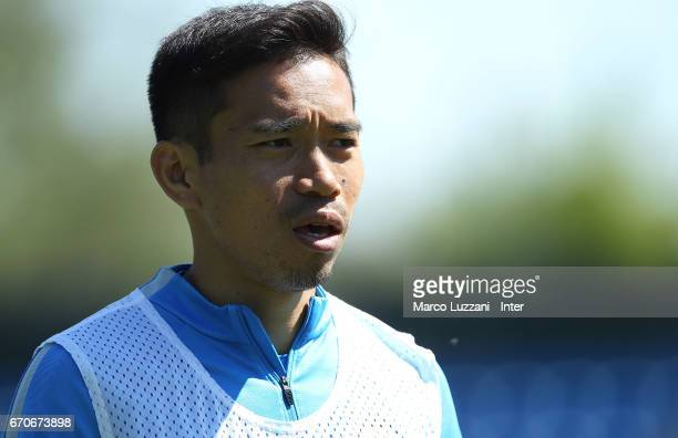 Yuto Nagatomo of FC Internazionale looks on during the FC Internazionale training session at the club's training ground Suning Training Center in...
